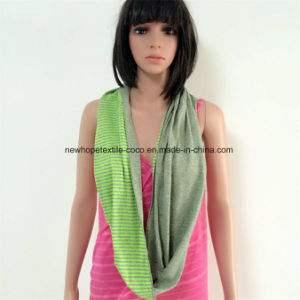100% Cotton Jersey Material Contrast Col, Double Layers Loop Scarf with Stripe Style pictures & photos