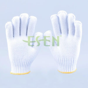 2017 Industrial Knitted Cotton Working Safety Gloves in White pictures & photos