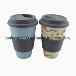 Reusable Biodegradable Bamboo Fiber Cup with Silicone Lid and Holder pictures & photos
