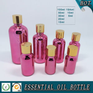 Rose Red Electroplating Glass Essential Oil Bottle with Cap and Reducer Plug pictures & photos