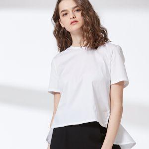 Ladies Fashion Round Neck T-Shirt Dovetail Blouse pictures & photos