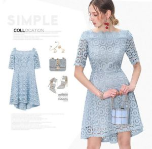 Flower Lace off-Shoulder Light Blue Half Sleeve Women′s Dress pictures & photos
