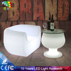 LED Glowing Plastic Table with Glass