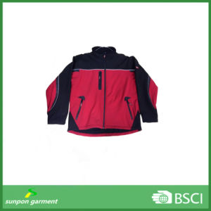 Men′s Black Elastic Band&Cuff Softshell Jacket pictures & photos