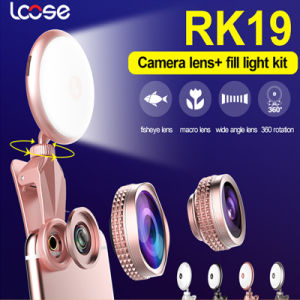 2017 Universal 2 in 1 Selfie Ring Flashlight with Fisheye Lens LED Selfie Flash Light (RK19) pictures & photos