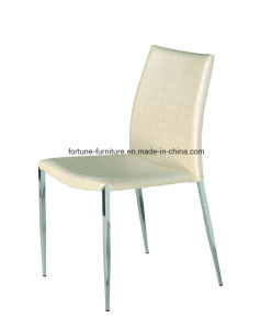 Faux Leather Upholstered White Dining Chair with Metel Leg (B801)