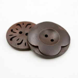 Flower Design Camphor Wood Material Button for Garment pictures & photos