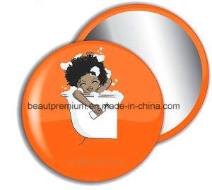 Fashion Plastic Orange Colour Cartoon Pattern Rotatable Pocket Make up Mirror BPS072