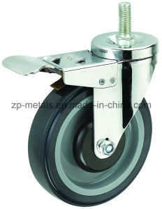 4inch Medium Sized Biaxial PU Screw Caster Wheels with Brake pictures & photos