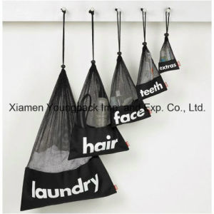 Personalized Custom Black Small Drawstring Laundry Nylon Mesh Bags pictures & photos