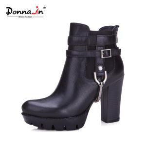Lady High Heels Metallic-Accessories Shoes Women Casual Leather Platform Boots pictures & photos