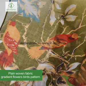 Newest Gradient Flowers Birds Printed Viscose Shawl Fashion Lady Scarf pictures & photos