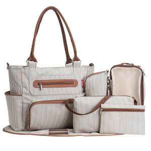7 Pieces Set Stripe Shoulder Baby Changing/Mother/Nappy/Diaper Bag pictures & photos