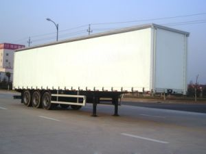 Curtain Side 3axle Van/Box Semi Trailer pictures & photos
