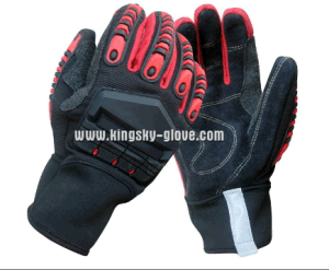 Cow Split Leather High Impact Protective TPR Palm Glove-7306 pictures & photos