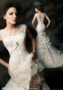 V-Neck Bridal Gowns Mermaid Tulle Beading Gothic Wedding Dress Mk20118 pictures & photos