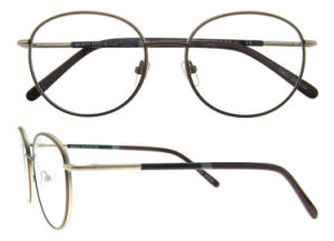 Popular Eyeglass Frame Double Color Round Metal Eyewear pictures & photos