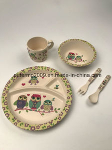 Eco Friendly Bio Bamboo Fiber Dinner Set, Plate for Children Eating Food pictures & photos