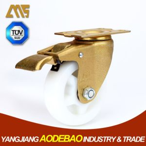 Light Duty Golden Plating Brake Nylon Caster Wheel