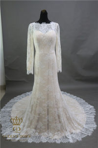 Luxury Long Sleeve Lace Mermaid Wedding Dress Evening Party Dresses pictures & photos