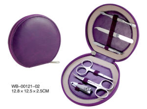 Big Promotion Travelling Purple Leather Manicure Set pictures & photos