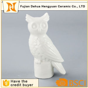 White Ceramic Owl Figurine Candle Holder Craft for Home Decoration pictures & photos