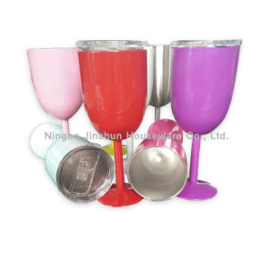 10oz Double Wall Travel Cups Color Customized Wine Glasses Stainless Steel Goblet pictures & photos