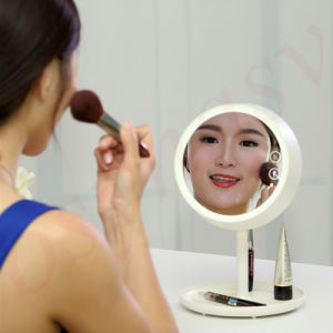2016 High Quality Cosmetic Makeup Mirror Rechargeable LED Light Desktop Table Lamp Bedroom Makeup Mirror with Light Lamp pictures & photos