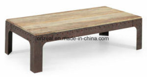 Antique Recycled Elm Wood Metal Castered Nail Coffee Table pictures & photos