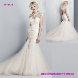 New Fashion Style All Trimmed in Beaded Lace Appliqué S and Swarovski Crystals Stunning Mermaid Wedding Dress with Cap-Sleeves, Open Back and Fish Tail pictures & photos