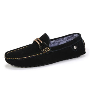 Leather Shoes Warm with Plush Fashion Weave for Men (AK1586-1) pictures & photos