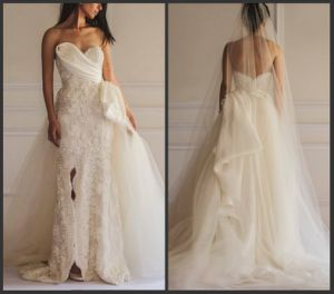 Lace Organza Bridal Formal Gown Sheath Strapless Wedding Dresses We15 pictures & photos
