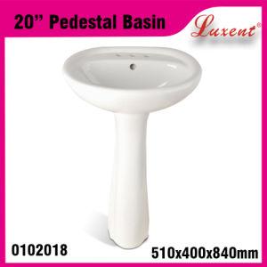 Bathroom Econormic Porcelain Moden Small Size Hand Wash Pedestal Basin