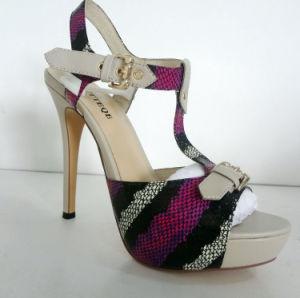 Latest Waterproof Platform Thin Heels Ladies High Heels Shoes Sandals pictures & photos