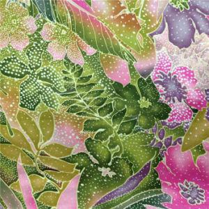 Printed Silk Satin in Flower&Snow Design