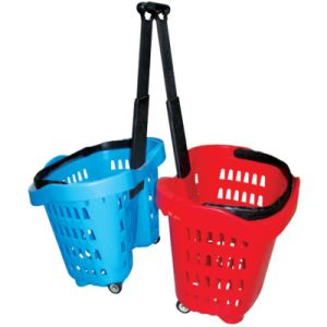 Cheap Price 40L Plastic Telescopic Handle Rolling Shopping Basket with 2 Wheels pictures & photos