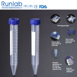 FDA and Ce Approved 15ml Conical-Bottom Centrifuge Tubes with Printed Graduation in Peel Bag Pack pictures & photos
