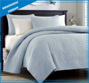 Blue Solid Polyester Ultrasonic Bedspread Set pictures & photos