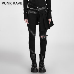 K-255 Punk Black Removable Lacing Design Cotton Skinny Lady Skirt Pants pictures & photos
