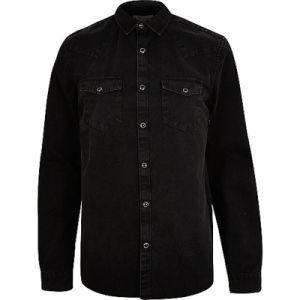Black Western Denim Men Long Sleeve Shirt pictures & photos