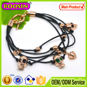 2016 Newest Multiple Black Leather Wrap Bracelet Skull Charm Bracelet pictures & photos