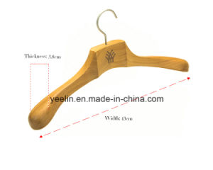 Wooden Clothes / Coat Hanger Printed Logo with Wide Shoulders (YLWD-e6) pictures & photos