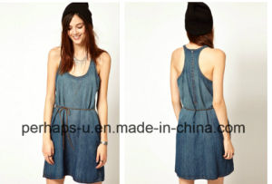 Sample and Fashion Round &Sleeveless Washed Denim Dress pictures & photos