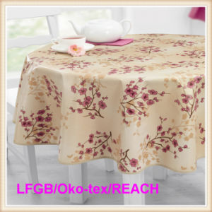 Plastic PEVA Printed Tablecloth with Flannel Backing (TJ0281) pictures & photos