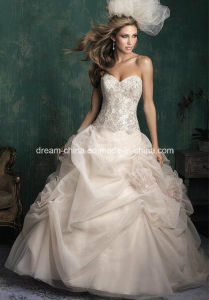 Tulle Satin Stunning Bodice Floral Decorations Woman Evening Wedding Dress (Dream-100036) pictures & photos