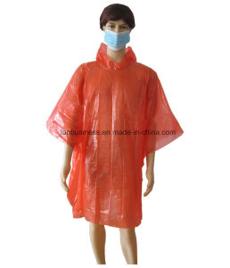 Disposable PE Rain Coat in Red with Hood pictures & photos