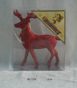 Crimson Glitter Christmas Deer Hanging Decoration