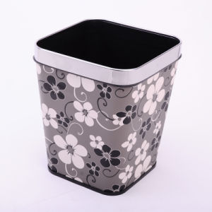 Flower Design Leatherette Covered Open Top Dust Bin