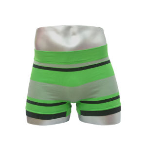 New Style Seamless Men′s Boxer Underwear with Colors Strip