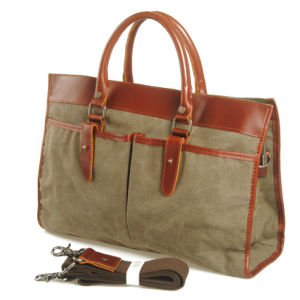 Genuine Leather Stitching Washed Canvas Fashion Handbag (RS-881A) pictures & photos